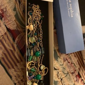 Lia Sophia Jewelry - NIB Long gold look Necklace with cut glass beads
